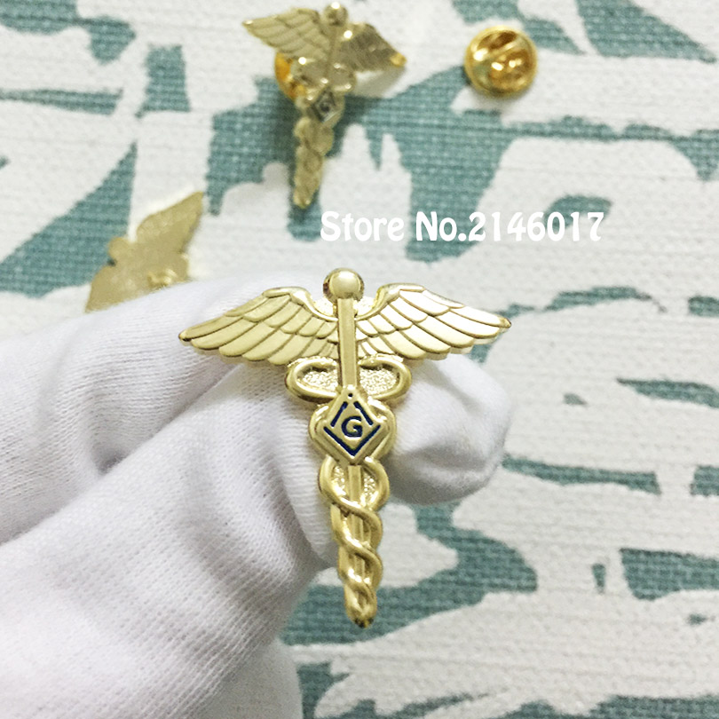 Masonic Lapel Pin Medical Doctor Pins and Brooch Freemason Lodge Masonry  Wings Snake Symbol Free Masons Badge Metal Craft