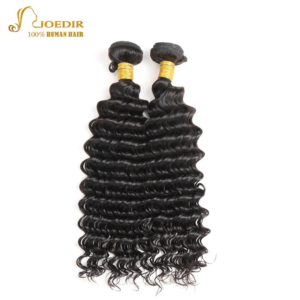 Joedir Indian Human Hair Bundles 10-26 inch Wavy Hair Bundles Deep Wave Hair Extensions Natural Black Human Hair Bundles