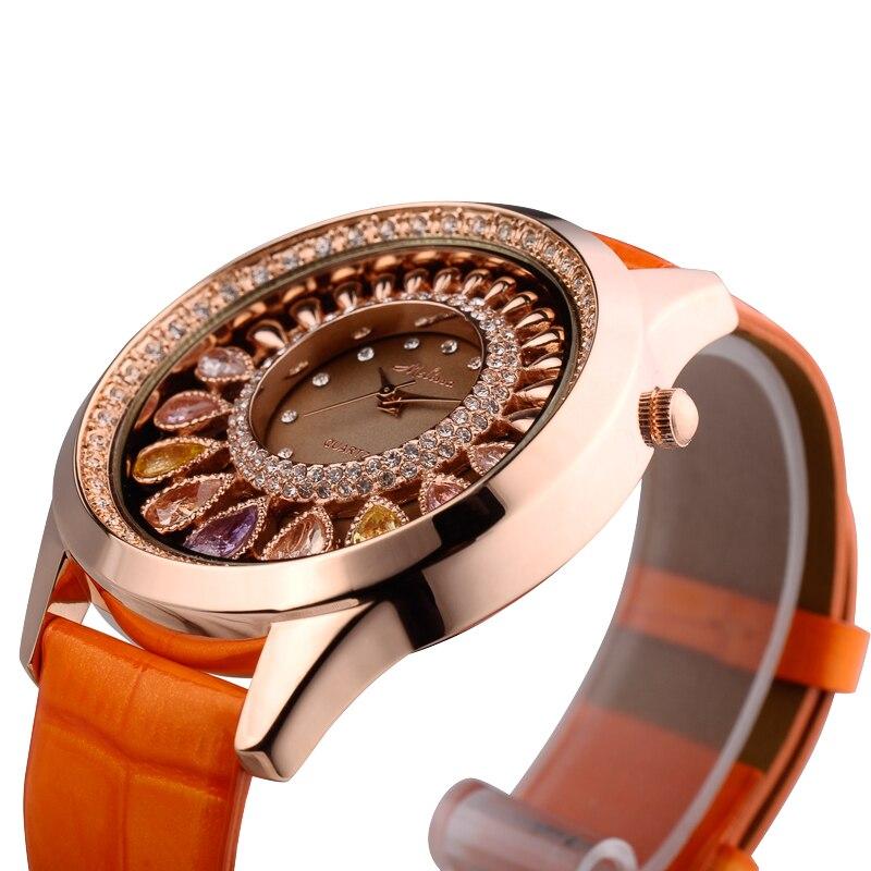 Mulheres de luxo cristal bling strass relógios mulher quartzo resistente à água relógio pulseira couro genuíno rosa senhora relógio - 2
