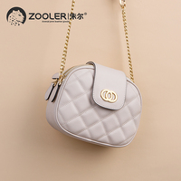 ZOOLER 2019 genuine leather bags women cow leather tote bag cross body chains woman messenger bag luxury leather purse hot B251