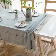 Dot Plaid Decorative Table Cloth Tassels Dinner Table Cover Party Wedding Home Kitchen Rectangular Tablecloth 1PCS/Lot