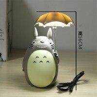 Kawaii Cartoon My Neighbor Totoro Umbrella Lamp Led Night Light USB Reading Table Desk Lamps For