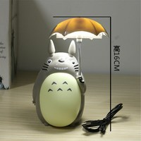 Kawaii Cartoon My Neighbor Totoro Umbrella Lamp Led Night Light USB Reading Table Desk Lamps For