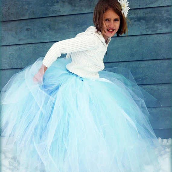 Winter Faerie Costume Sewn Long Length Flower Girls Princess Tutu Skirt Chic Soild Gown Pettiskirt For Parties Holiday New Year