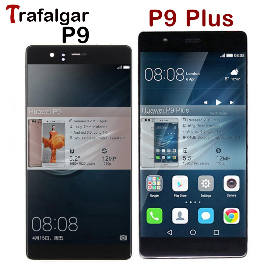 For Huawei P9 LCD Display Touch Screen Digitizer Assembly With Frame For Huawei P9 Plus LCD Screen  EVA L09 L19 VIE L09 L29