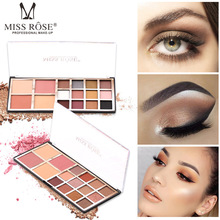 MISS ROSE is not easy to smudge 12 color eyeshadow disc 2 blush powder pearly matte palette makeup