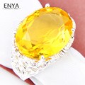 New Fashion Design Women Beautiful Yellow Synthetic Crystal Rings Silver Plated Women Jewelry Bijoux R0038