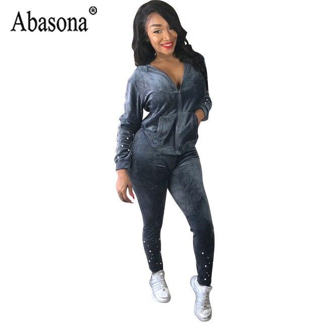 11f3561d0d Abasona Autumn Casual Women Beading Hooded Jumpsuit Solid 2 Piece Bodycon  Pants Set Women Rompers Zipper Pockets Sportsuit Femme