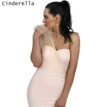 Cinderella Light Champagne Soft Tulle One Shoulder Mermaid Sweep Train Satin Women Bridesma