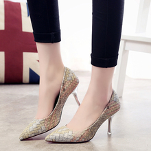 2016 spring and autumn new women's fashion lady sexy high-heeled pointed shoes comfortable casual club banquet heels work shoes