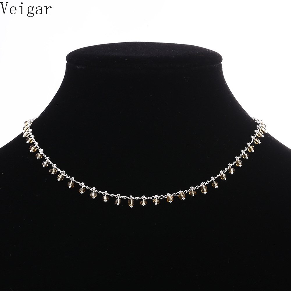 Acrylic Beads Tassel Necklaces Women Choker Necklace 2018 Fashion Jewelry Ladies Party Necklace Gold Silver Color Collier Femme