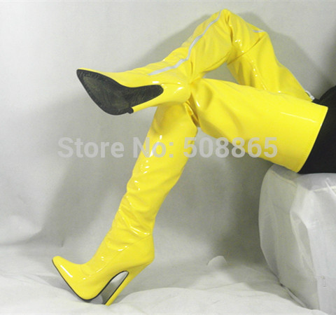 Aliexpress.com : Buy New women 18cm high heels yellow PU leather ...