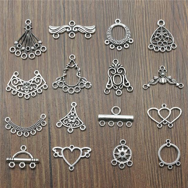 Antique Silver Color Earrings Connection Charms Jewelry Diy Earrings Connector For Earring Making