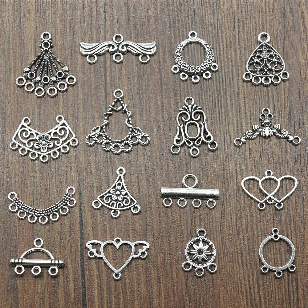 20pcs/lot Antique Silver Color Earrings Connection Charms Jewelry DIY Earrings Connector Charms For Earring Making