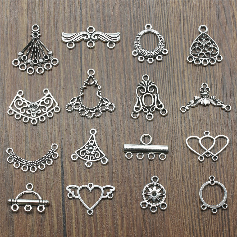 20pcs/lot Antique Silver Color Earrings Connection Charms Jewelry Diy Earrings Connector Charms For Earring Making