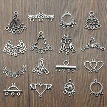 20pcs/lot Antique Silver Color Earrings Connection Charms Jewelry Diy Earrings Connector Charms For Earring Making(China)