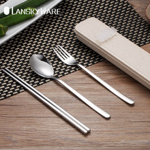 LANSKYWARE Portable 304 Stainless Steel Tableware Set With Buckle Box Travel Picnic Dinnerware Kid School Dinner Cutlery