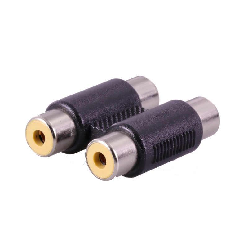 1 pc nowy przydatne podwójny RCA Joiner łącznik podłącz pojedynczy RCA żeńskie do żeńskiego Audio wideo kabel AV adapter złącze