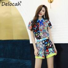Delocah Spring Summer Women Set Runway Fashion Designer Short Sleeve Simple Bow Flower Printed Elegant Pants Ladys Suits