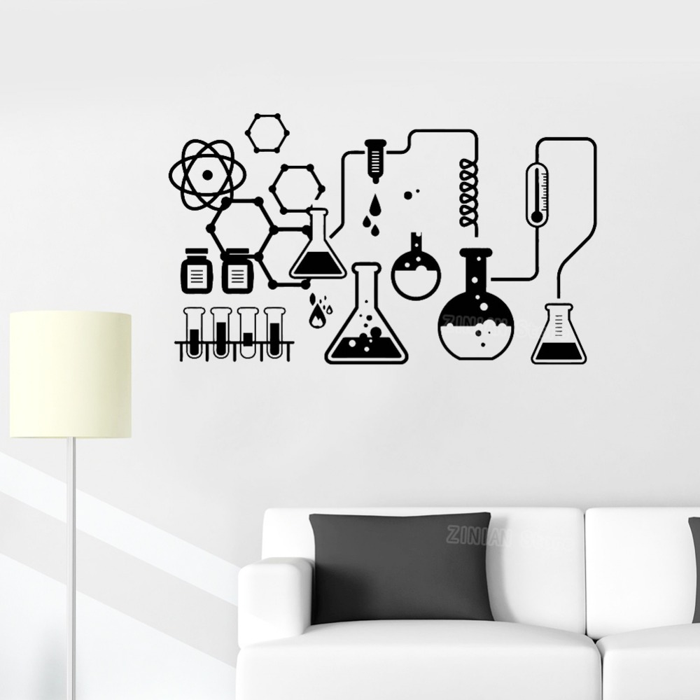 Science Chemical Lab Vinyl Wall Stickers Kids Scientist Decals Home Decor