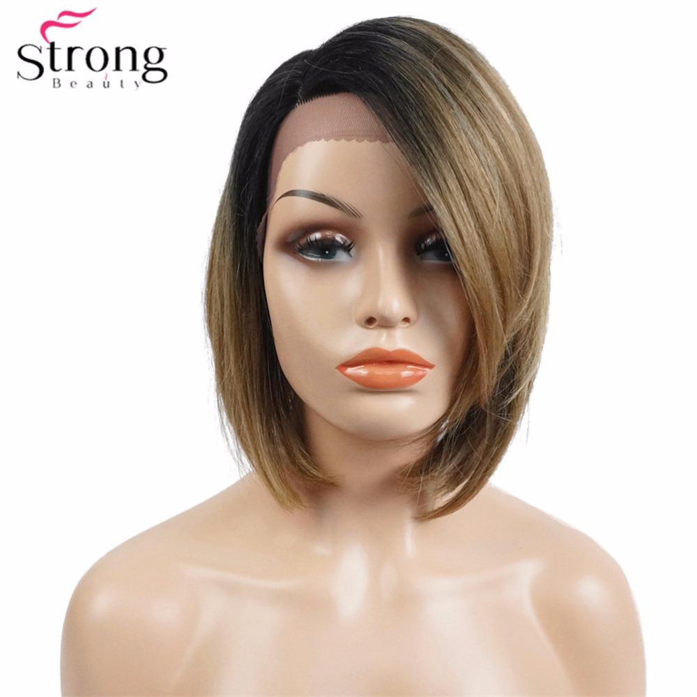 StrongBeauty Women's Synthetic Lace Front wig Kanekalon Hair Dark Roots Ombre Short Bob Hairstyle Natural Wigs