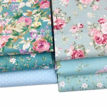 100% Twill Cotton Fabric for Patchwork Quilt Cushions Telas Tedio Sewing Tissue DIY Crafts Tilda Cloth Dress Blue Floral Printed(China)