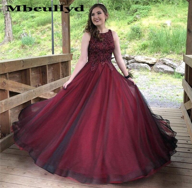 Elegant Black And Burgundy   Prom     Dress   With Applique Lace 2019 Evening   Dresses   Long Formal Plus Size vestidos de fiesta de noche