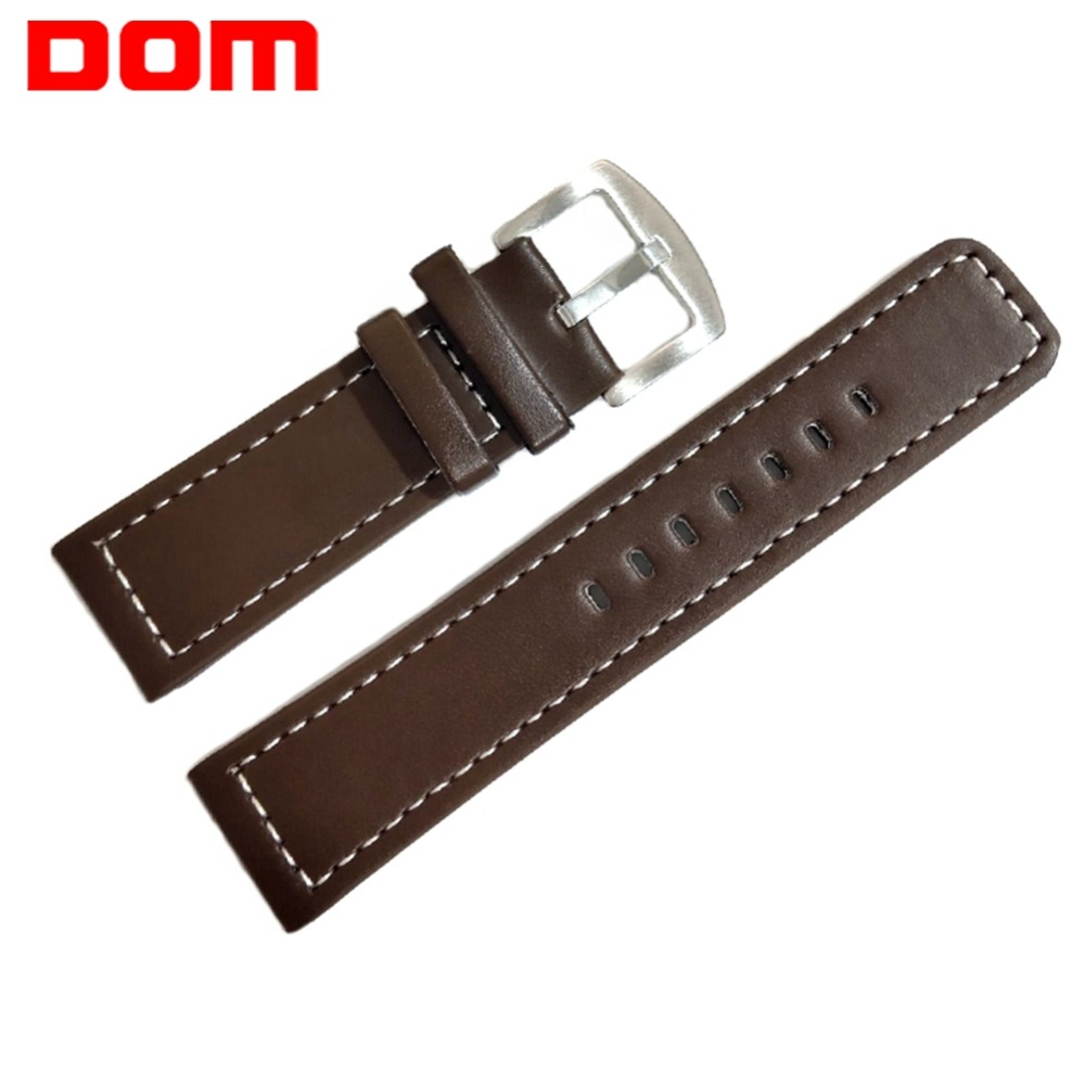 DOM Watch Band PU Leather Sport Straps Men 24mm Watch Accessories High Quality Brown Colors Watchbands Male Watch Strap Belt