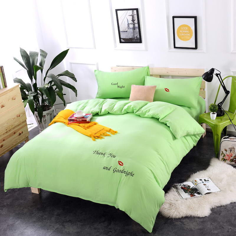 Simple Spring Washed Cotton Princess Wind Embroidery Bright Green Bedding  Sets Duvet Cover Set Bed Sheet Pillowcase King Queen Pcs With Lime Green Bed  Sets