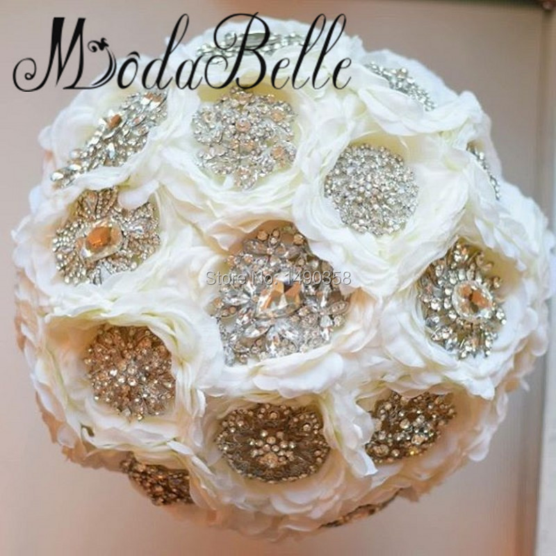 Custom Made Ivory White Crystal Bridal Bouquets Brooch Beaded