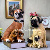 Cute Puppy Statue Simulation Pug Boxer Creative Resin Home Decor Action Figure Collectible Model Toy Valentines Gift P957