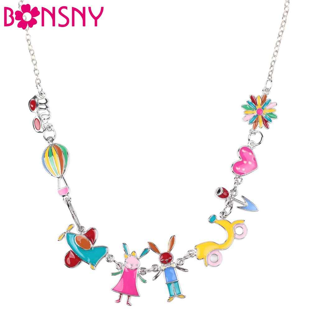 Bonsny Maxi Alloy Rabbit PLANE  Necklace Chain Enamel Jewelry Colorful Pendant 2017 New Fashion Jewelry For Women Statement