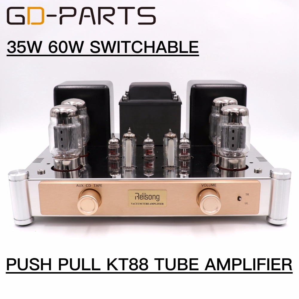 GD-PARTS Hifi Audio Push Pull KT88 Vacuum Tube Integrated Amplifier Hand Wired 35W 60W 6550 Vintage Tube AMP AUX CD TAPE gd parts appj pa1502a headphone earphone 6n4 6p6p vacuum tube amplifier headphone amplifier 6v6 vintage valve tube amp