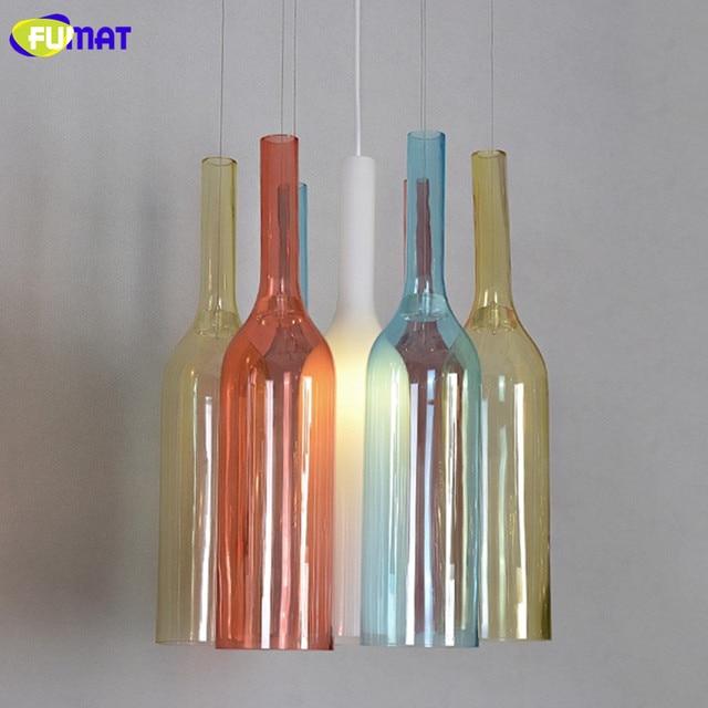 FUMAT Farbige Glasflaschen Pendelleuchten Moderne Wohnzimmer Esszimmer Lampe Schlafzimmer Bar Glas Licht RGB