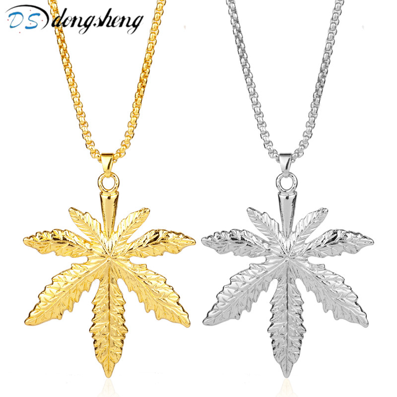 dongsheng Wholesale Hip Hop Jewelry <font><b>Cannabiss</b></font> Iced Out Small Weed Herb Charm <font><b>Necklace</b></font> Maple Leaf Pendant <font><b>Necklace</b></font> Gift-30 image