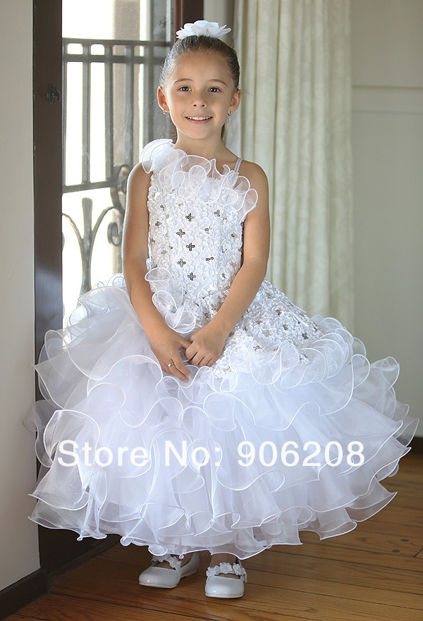 Free Shipping Vintage Real Ball Gown Lace   Flower     Girl     Dresses   With Bow Sash