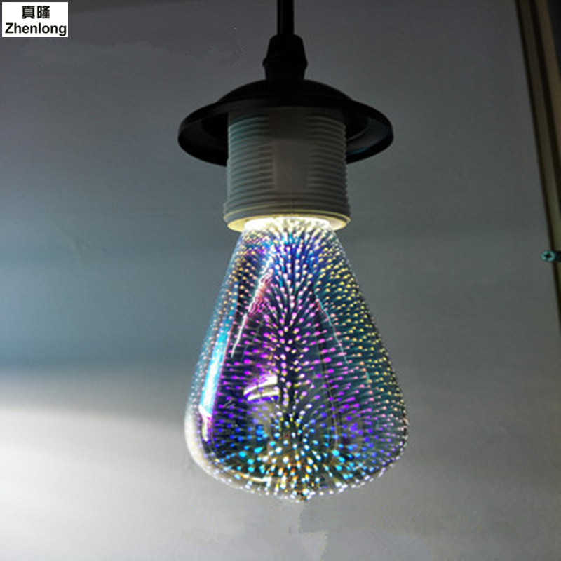 Led Bulb 3D Dazzle Colour Bubble Rgb LED Light Bulbs E27 3w Firework Led Lamp 220v Energy-saving Decorative LED Filament Lamp цены