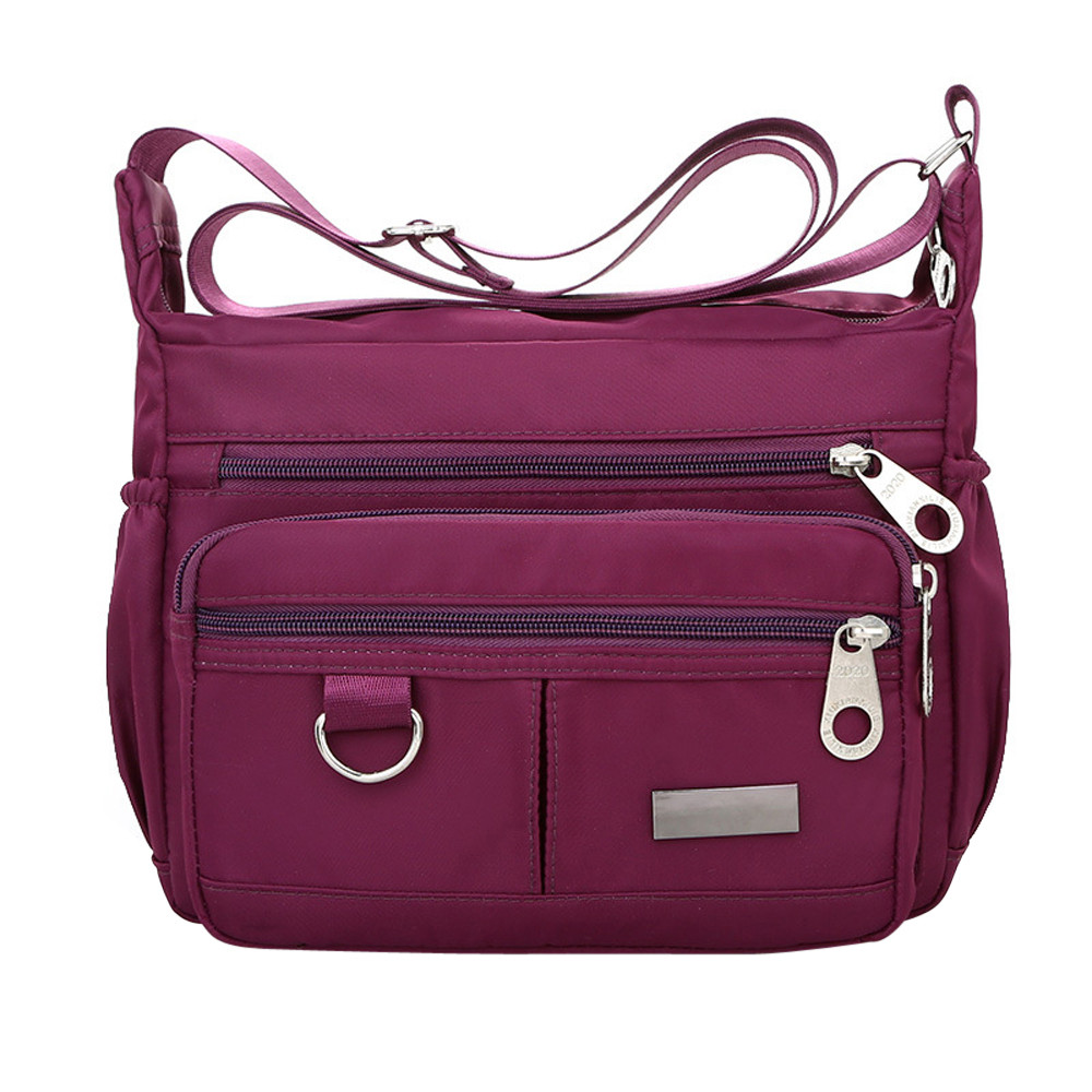 Women Fashion Solid Color Zipper Waterproof Nylon Shoulder Bag  Handbags,Shoulder Bag purple 25cm*19cm*9cm 40
