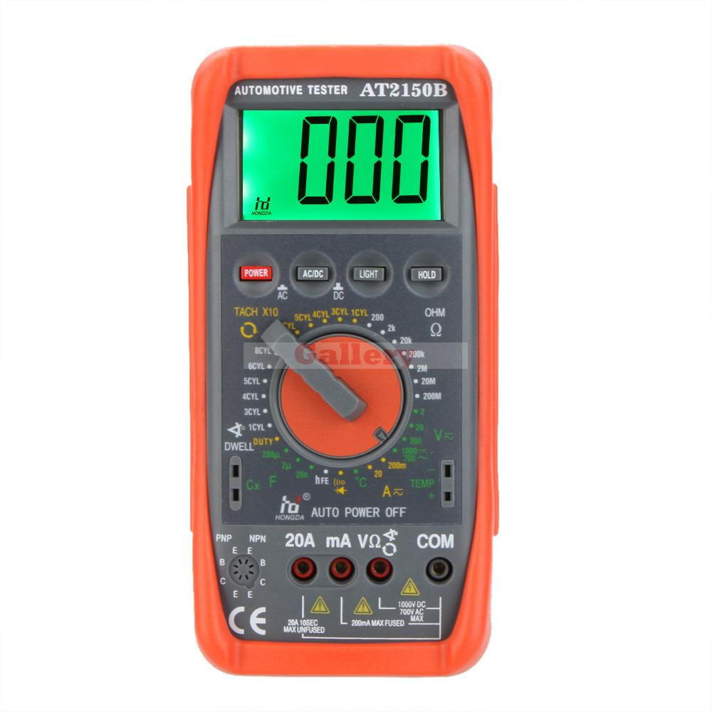 Hd At2150b Automotive Meter Tester Digital Multimeter Tachometer Cap Temp Sensor W Lcd Backlight Professional Tester Digital sensor at v500 at 005vh tested ok