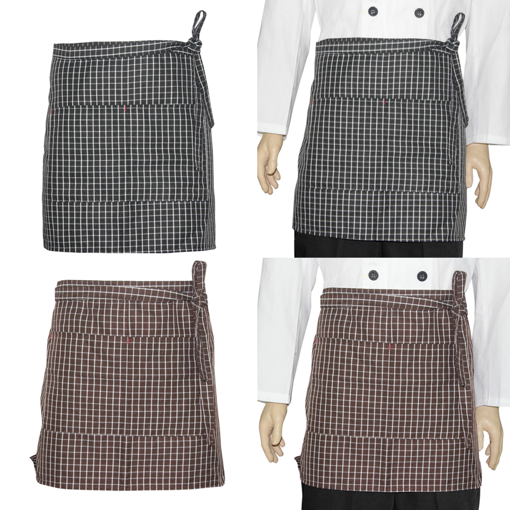 White apron cape town - 40 70cm Universal Unisex Polyester Grid Bib Apron With Pockets Chef Waiter Kitchen Cook Tool