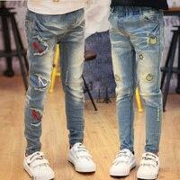 2017 autumn children's clothes girls jeans causal slim denim enfant girl jeans for girls big kids fashion long trousers