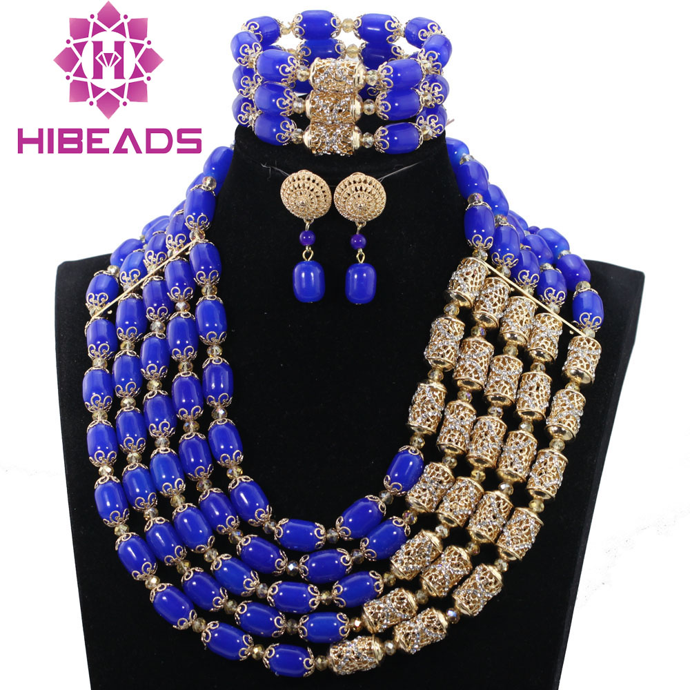 Royal Blue Beaded Costume Party Jewellery Sets Luxury Nigerian Wedding Women Jewelry Sets Jewelry Accessory ABH381 стоимость