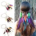 Estilo Indio Pluma Headwear accesorios para el pelo Del Pavo Real de la Pluma de múltiples funciones con estilo Tejidas A Mano Bandas Para El Cabello Diadema