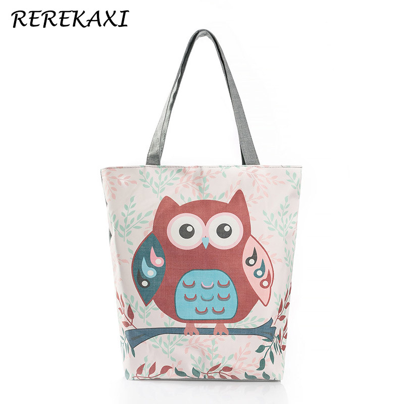 REREKAXI Cartoon Owl Print Casual Shoulder Bag Lady Canvas Beach Bag Female Handbag Daily Use Women Travel Shopping Tote Bags