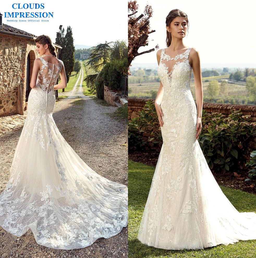 US $203.7 30% OFF|CLOUDS IMPRESSION Appliques Sweep Train Mermaid Wedding  Dresses 2019 Trumpet Bridal Gown Vestido de Noiva Plus Size-in Wedding ...