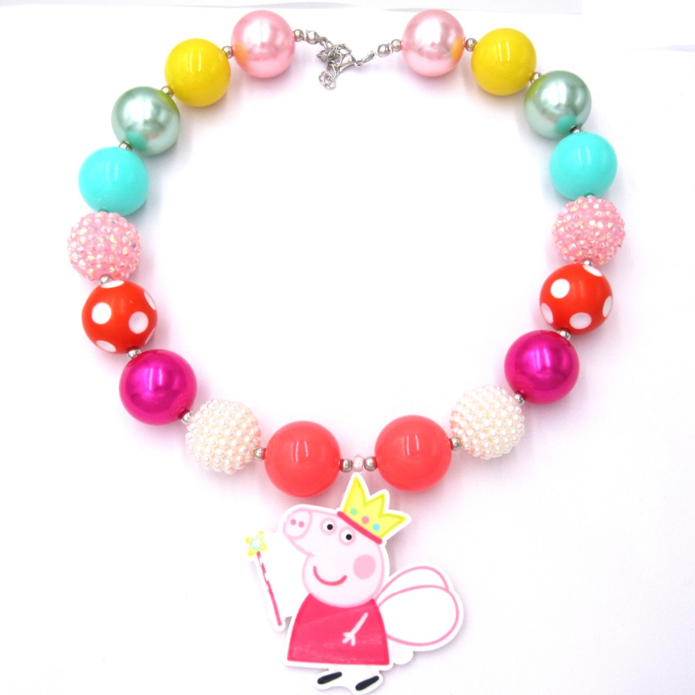 NEW Toddler Girls Masquerade Dress Outfits Gift To Baby Child Cartoon Pink Pig Resin Pendant Chunky Bubblegum Necklaces Jewelry