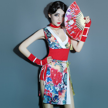 be21606ab Estilo japonés moda kimono rojo vestido tradicional mujer geisha ...