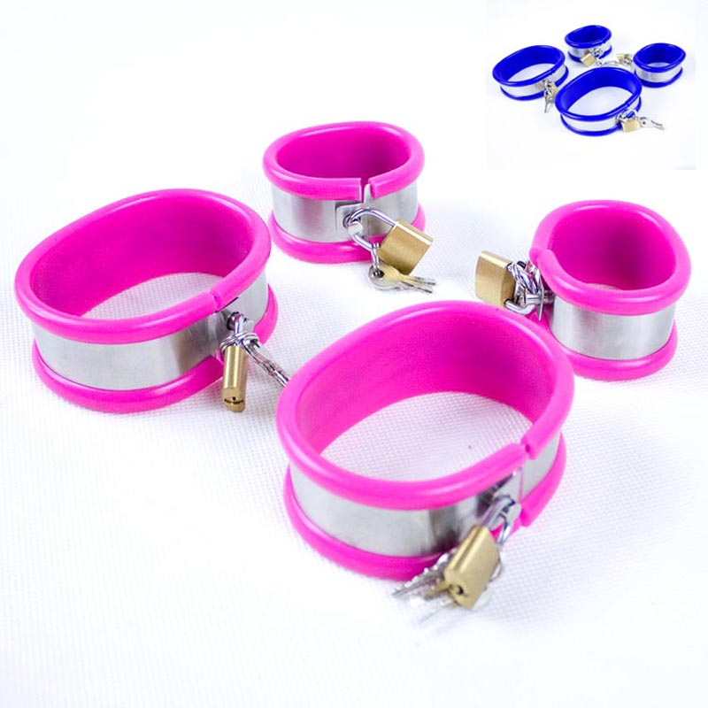 Stainless Steel Silicone Hand Ankle Cuffs Bondage Restraints Bdsm Set Adult Games Fetish Sex Toys For Couples Handcuffs Legcuffs stainless steel frame restraint dildo sex bdsm bondage handcuffs sex toys for couples adult games fetish bdsm sex tools for sale