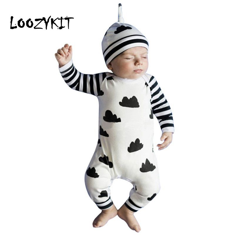 Loozykit Autumn Baby Boy Girl   Rompers   Long Sleeve Cartoon Clouds Infant Jumpsuit+Hat 2Pcs Casual Outfit Newborn Baby Clothes