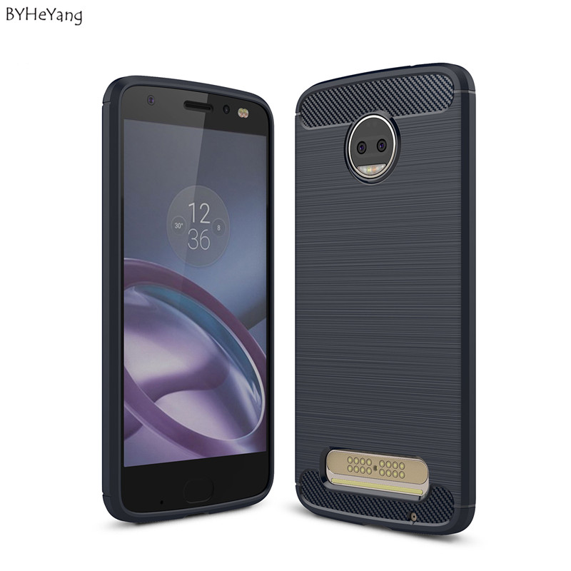 BYHeYang phone Case For Motorola Moto Z2 Force Case Carbon Fiber TPU Silicone Brushed Hybrid cover For Moto Z2 Force Cover Capa